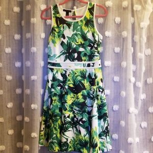 Scuba Knit Abstract Floral Dress Size M